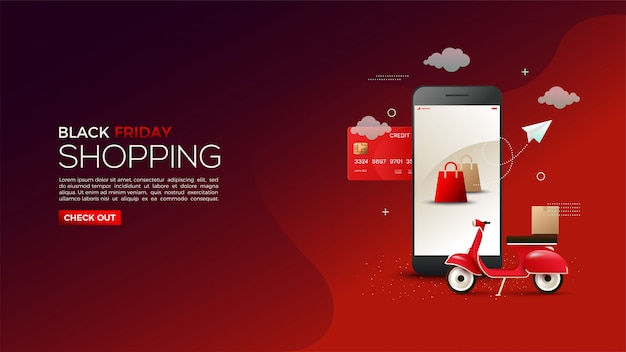Black friday online shopping with illustrations of credit cards