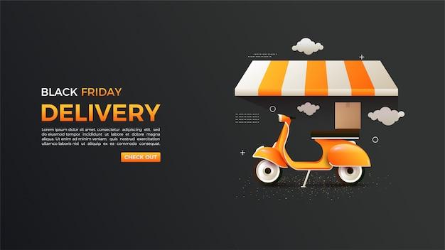 Black friday online shopping with orange vespa 3d illustration.