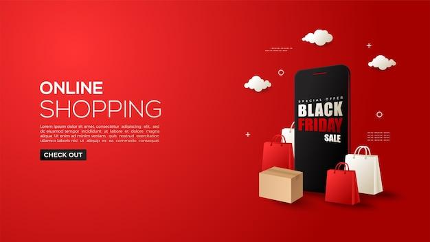 スマートフォンと3dショッピングバッグを使ったブラックフライデーのオンラインショッピング