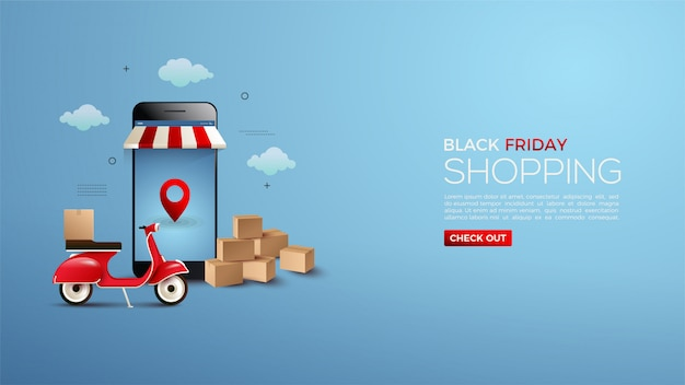 Black friday online shopping with smartphones and vespa 3d.