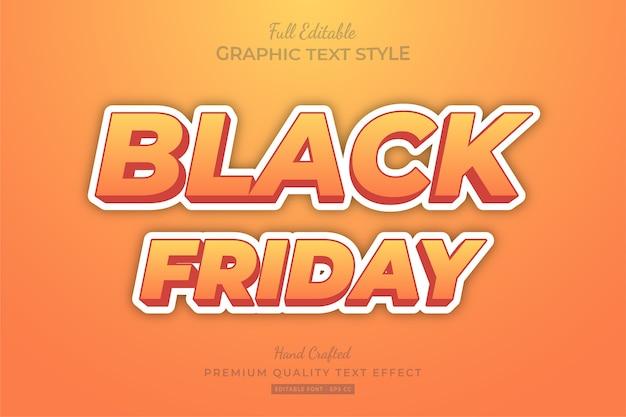 Черная пятница оранжевый мультяшный редактируемый эффект стиля текста