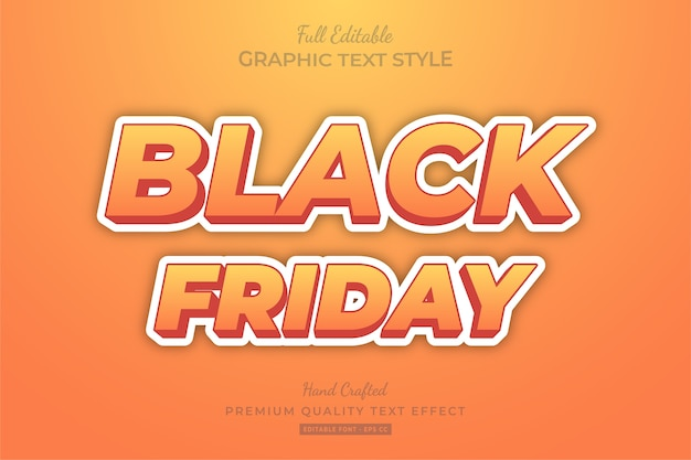 Black friday orange cartoon editable text style effect