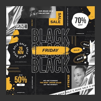 Black friday paper style ig posts