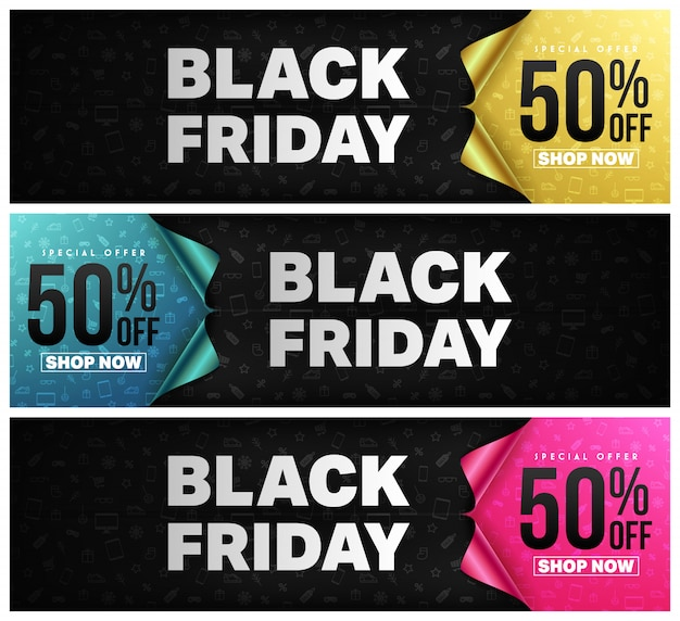 Black friday poster or banner with open gift wrap paper concept