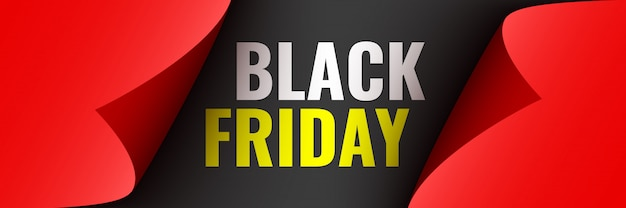 Black friday poster. red ribbon with curved edges on black background. sticker.  illustration.