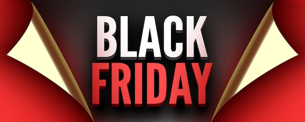 Black friday poster red ribbon with curved edges