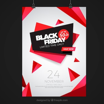 Black friday poster with abstract shapes
