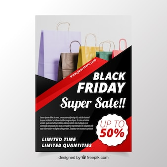 Black friday poster with bags image