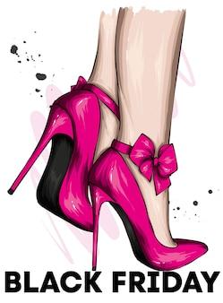 ハイヒールの靴で美しい女性の脚とブラックフライデーのポスター