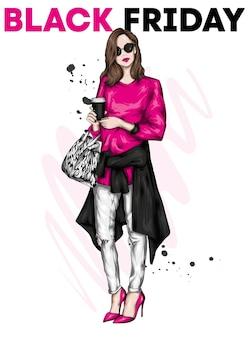 スタイリッシュな服を着た美しい少女とブラックフライデーのポスター