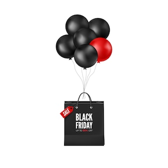 割引付きブラックフライデーポスター。ショッピングバッグ付きの黒と赤の風船。 webバナーのデザイン。