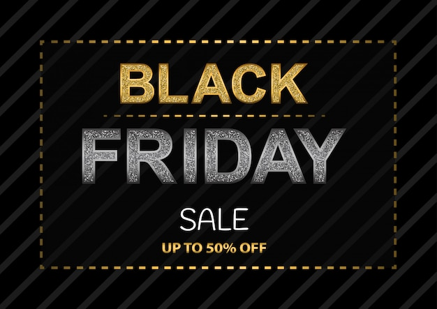 Black friday poster with glittering letters