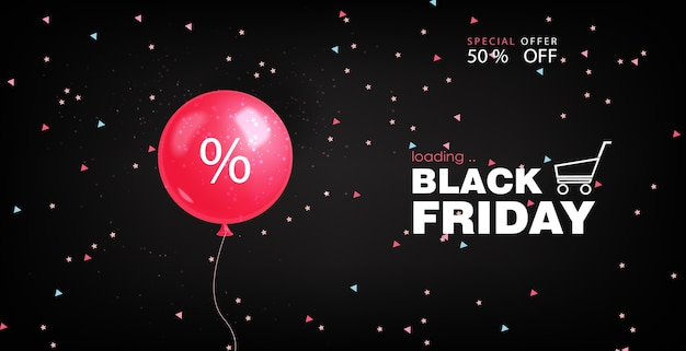 Black friday poster with a pink balloon
