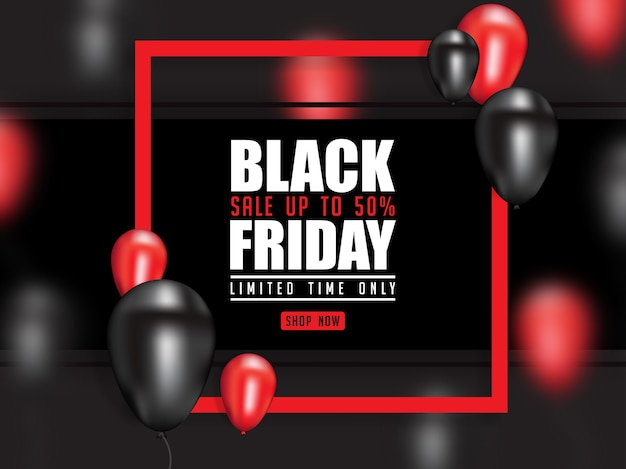 Black friday poster with realistic 3d balloon