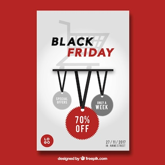 Black friday poster with a white background