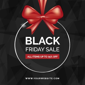 Black friday promo with red ribbon