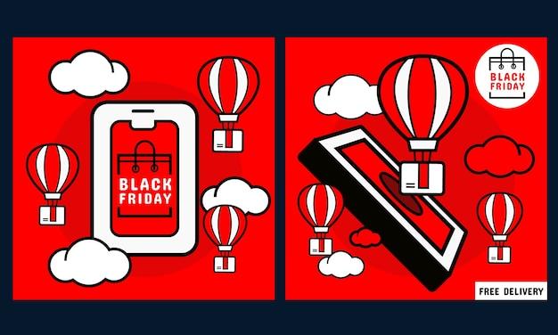 검은 금요일 홍보 배너. 온라인 쇼핑 화면과 주문 상자 및 풍선이있는 휴대폰