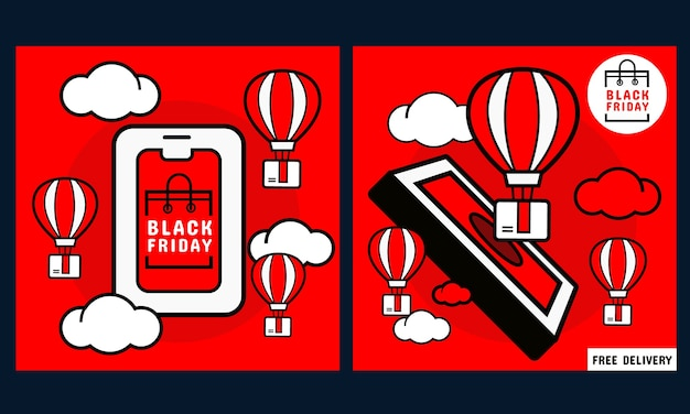 Black friday promotion banner. mobile phone with online shopping screen and order box and balloon