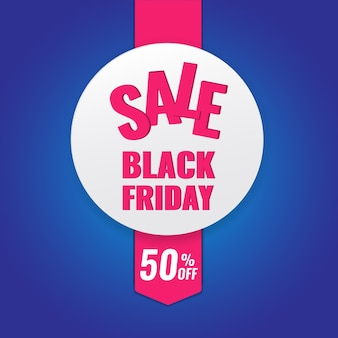 Black friday promotion circle banner on dark background with pink ribbon.