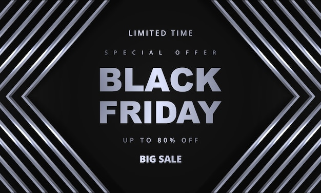 Black friday promotion sale banner template. gray and silver luxury dark background.