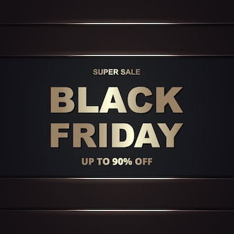 Black friday promotion sale golden banner template. black friday luxury dark gold background.