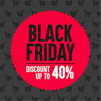 Black Friday promotional banner. Discount up to 40%
