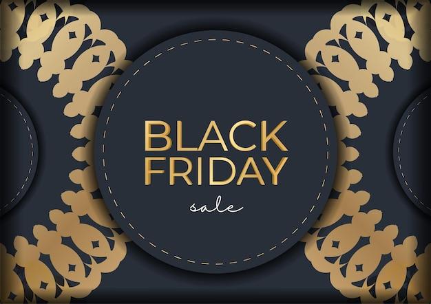 Черная пятница рекламный шаблон темно-синий с круглым золотым орнаментом