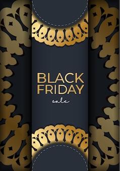 Черная пятница рекламный шаблон темно-синий с круглым золотым узором