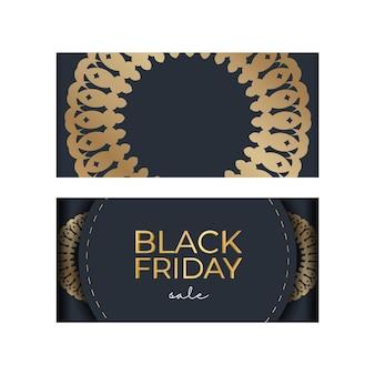 Рекламный шаблон черной пятницы в темно-синем цвете с геометрическим золотым орнаментом