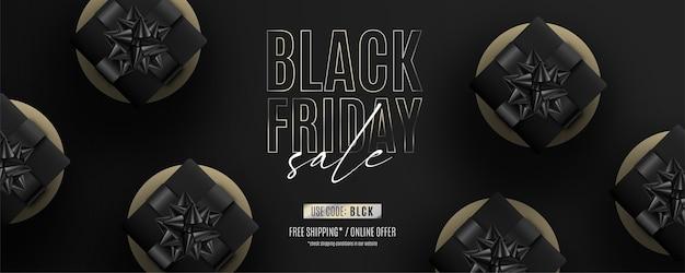 Banner realistico venerdì nero con regali