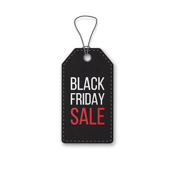 Black friday realistic textured, sale tag on a rope. symbol of christmas holiday sale.