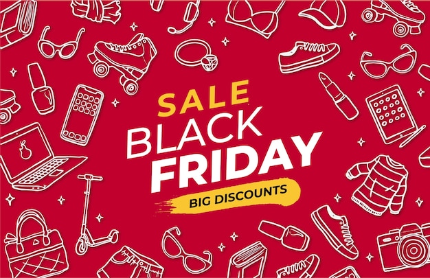 Black friday red banner with handrawn elements