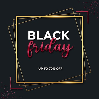 Black friday red and gold banner