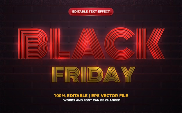 Black friday red neon light glow shiny bold editable text effect