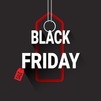 Black friday red shopping tag or label