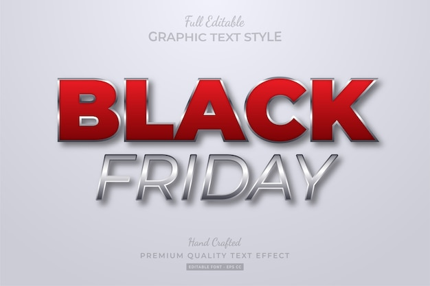 Black friday red silver editable text style effect