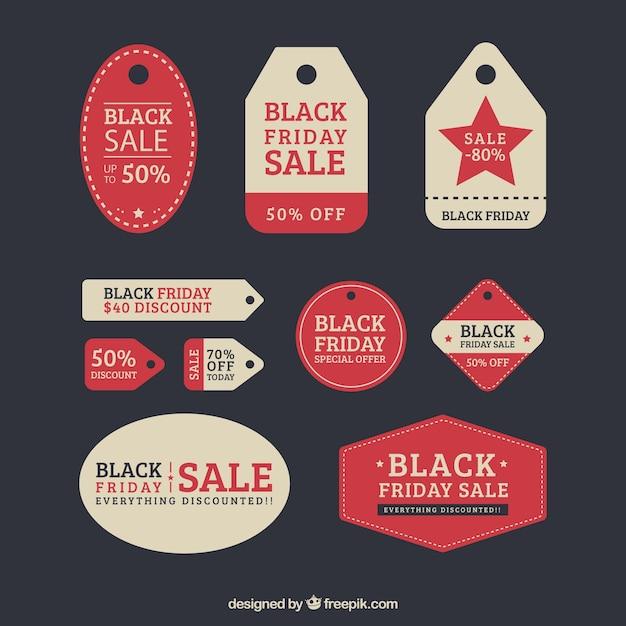 Black friday retro labels set