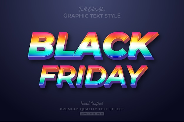 Black friday  retrowave editable text style effect