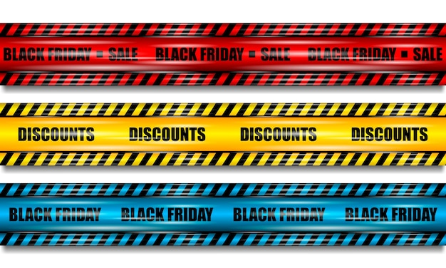 Black friday ribbons, realistic red, yellow and blue ribbon with highlights on white isolated background
