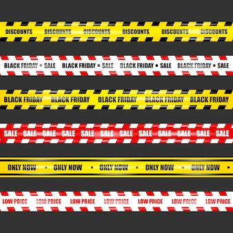 Ленты черной пятницы, реалистичные ленты с бликами на черном изолированном фоне
