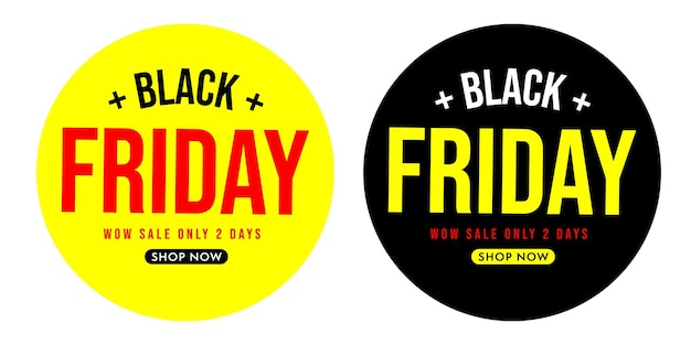 Black friday round sticker badge, label wow sale set. special retail commercial offer with discount only two days vector illustration isolated on white background