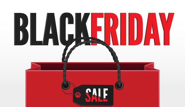 검은 금요일 판매 3d 배너 템플릿입니다. 세련된 계절 할인 제공. 흰색 바탕에 검정과 빨강 대문자입니다. 가격 할인 태그가 있는 쇼핑백. 메가 세일 포스터 디자인 레이아웃