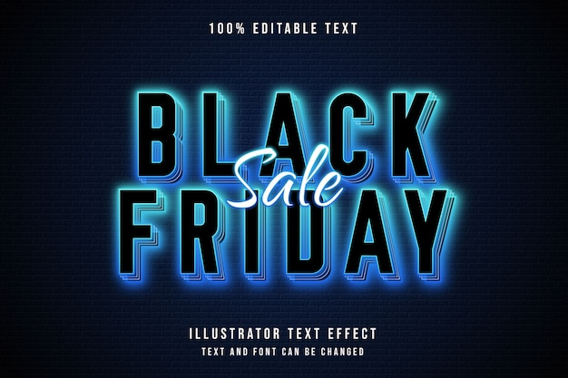 Black friday sale,3d editable text effect blue gradation neon text style