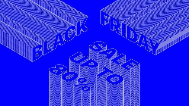 ブラックフライデーセール3d活版印刷トレンディなデザインバナー明るい青抽象的な背景