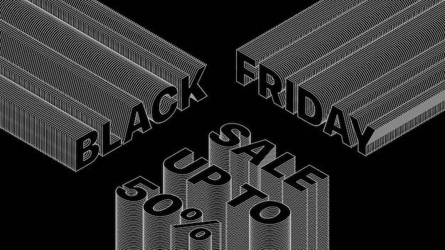 ブラックフライデーセール3dタイポグラフィトレンディなデザインバナー抽象的な背景