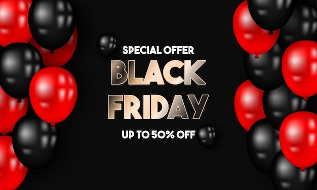 Black friday sale 50 off with red and black ballons