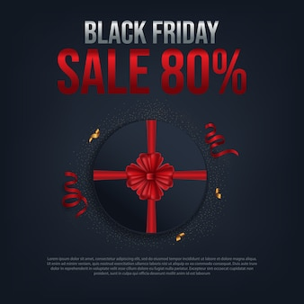 Черная пятница продажа 80% постер с красным кругом подарок