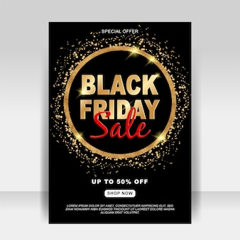 Black friday sale ad flyer banner with glitter gold