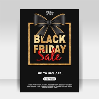 Black friday sale ad flyer banner with ribbon gold