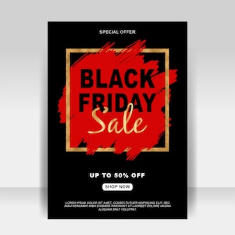 Black friday sale ad flyer banner with splash brush
